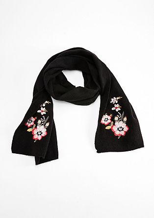 Schal mit floralem Stitching