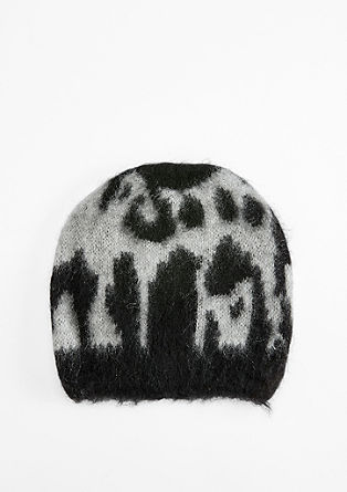 Warm hat with a leopard print pattern from s.Oliver