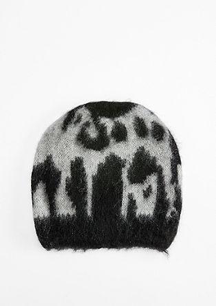 Warme Mütze mit Leoparden-Muster