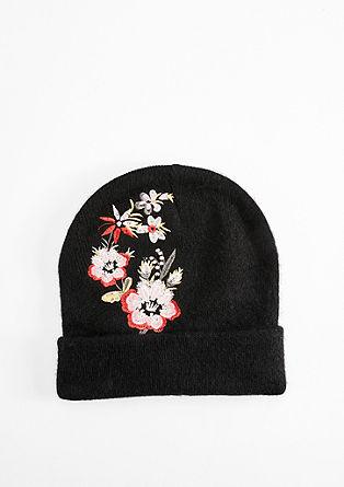 Beanie mit floralem Stitching