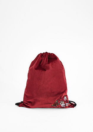 Velvet rucksack with embroidery from s.Oliver
