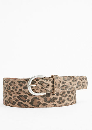 Leather belt with an animal print from s.Oliver