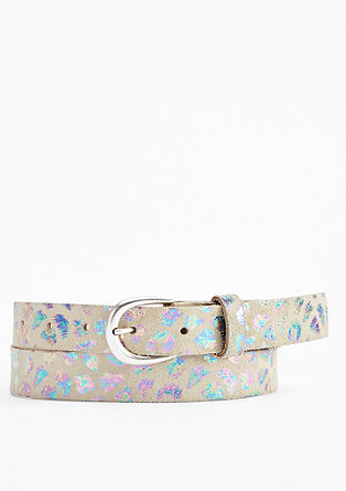 Leather belt with a foil print from s.Oliver