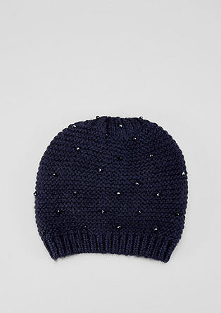 Knitted hat with decorative beads from s.Oliver