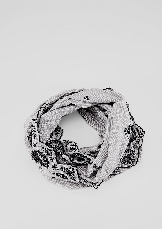 Embroidery-Loop   Accessoires > Schals & Tücher > Loops   Grau/schwarz   100% baumwolle   s.Oliver