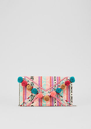 Ethno-Clutch mit Pompoms