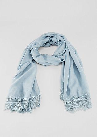 Woven scarf with lace trims from s.Oliver