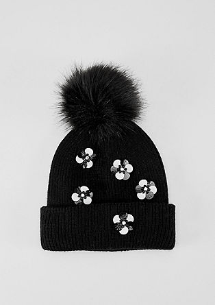 Pompom hat with appliqués from s.Oliver