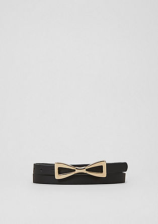 Matte leather belt with a bow from s.Oliver