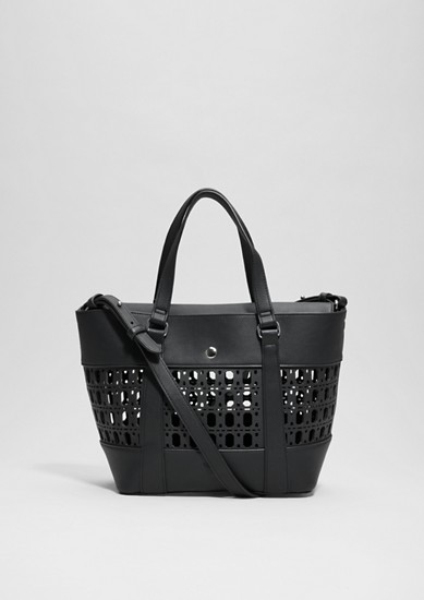 Shopper bag with a laser-cut pattern from s.Oliver