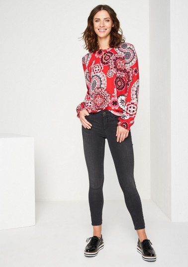 Long sleeve blouse with a colourful pattern from comma