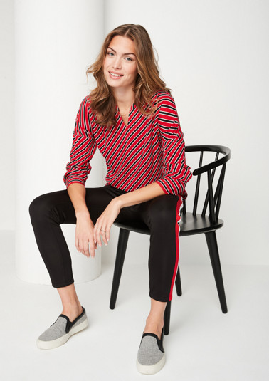 Long sleeve crêpe blouse with a stripe pattern from comma