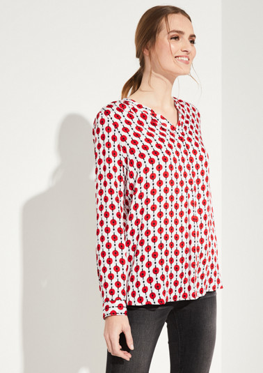 Satin blouse with decorative geometric pattern from comma