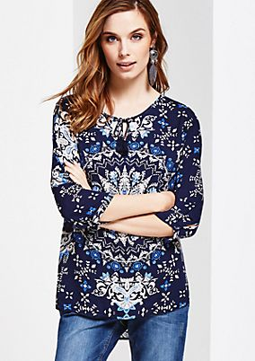 Casual blouse with 3/4-length sleeves and a beautiful all-over print from s.Oliver