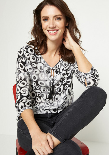 3/4-Arm Bluse mit abstraktem Alloverprint