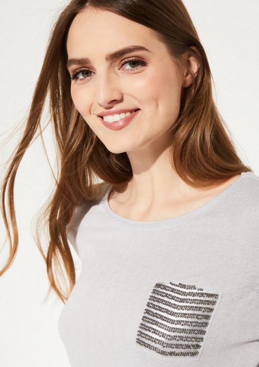 Kurzarm-Strickshirt mit Paillettenverzierungen