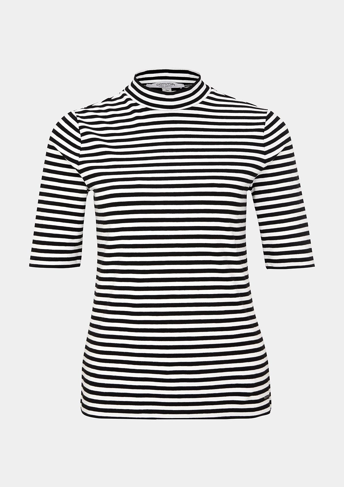 Kurzarm-Jerseyshirt mit sportlichem Streifenmuster