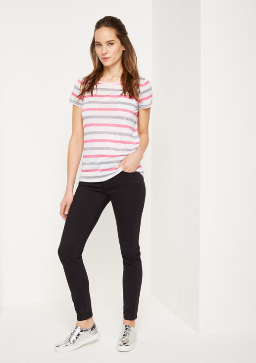 Lightweight short sleeve knit top in a striped look from comma