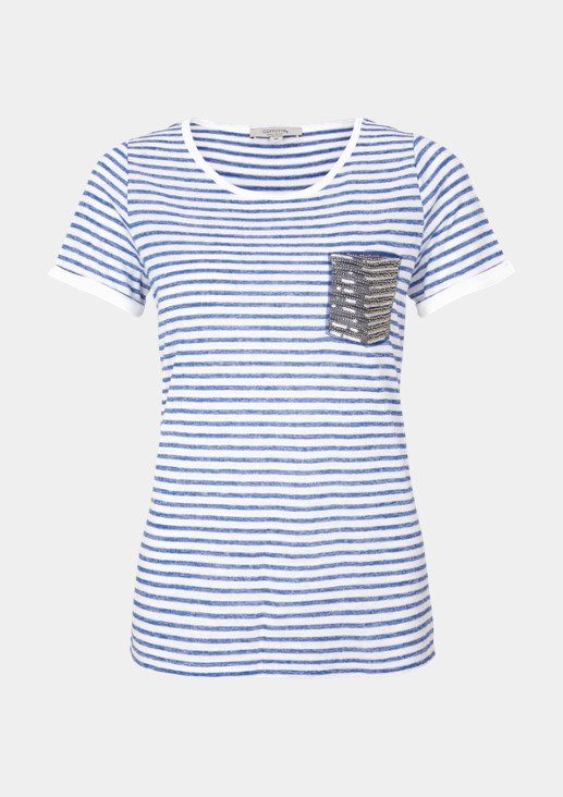 Short sleeve knit top with a sporty stripe pattern from comma