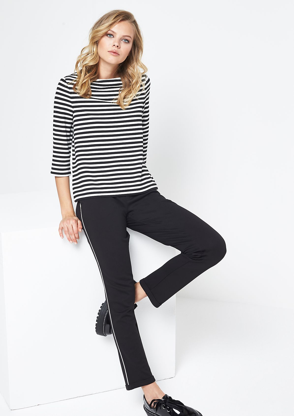 3/4-sleeve top with decorative stripes from comma