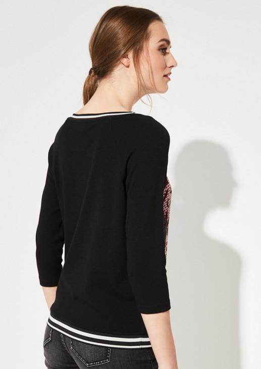 3/4-Arm Shirt im Materialmix