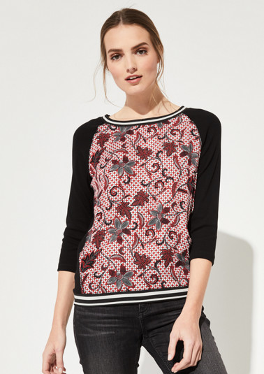 3/4-sleeve top in a mix of materials from comma