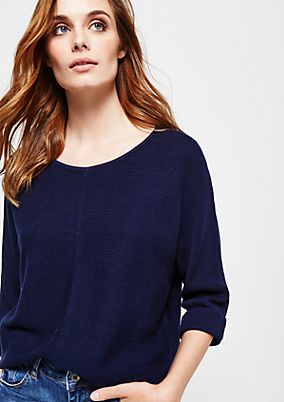 Soft knit jumper with 3/4-length sleeves and a ribbed pattern from s.Oliver