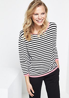 Striped knit jumper with 3/4-length sleeves from comma