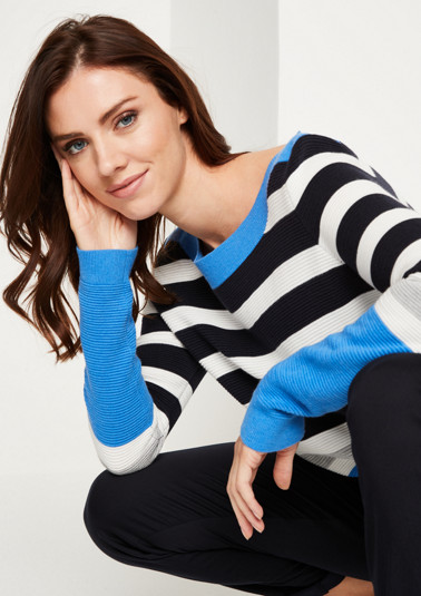Warm knit jumper with a striped pattern from comma