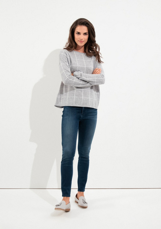 Fine knit jumper with a check pattern from comma