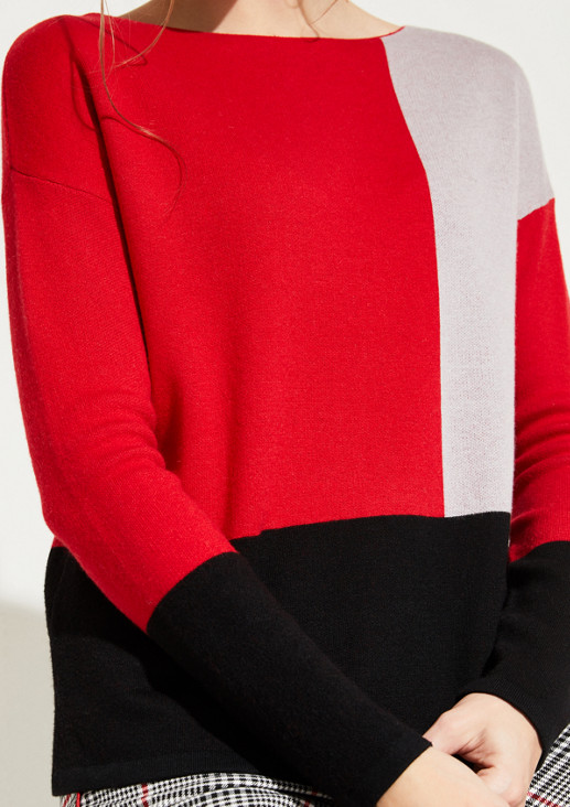 Knit jumper with a colour block pattern from comma
