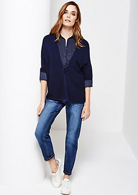 Soft short sleeve cardigan with a ribbed pattern from s.Oliver