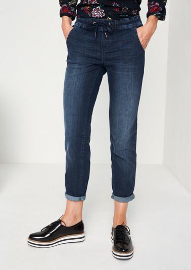 Jeans im Used-Look mit Tunnelzug