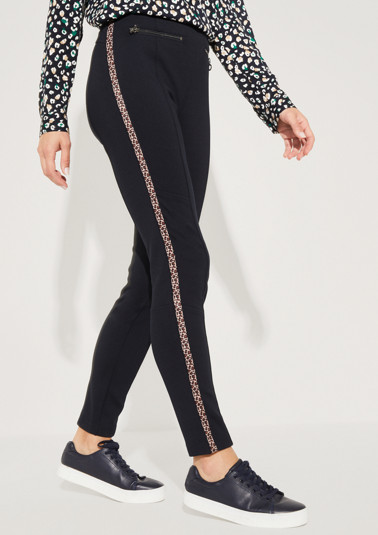 Casual trousers with side stripes in a leopard look from comma
