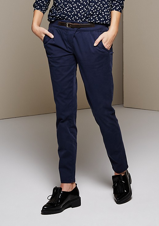 Lightweight twill chinos with a mock belt from s.Oliver
