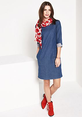 Casual denim dress with 3/4-length sleeves from comma