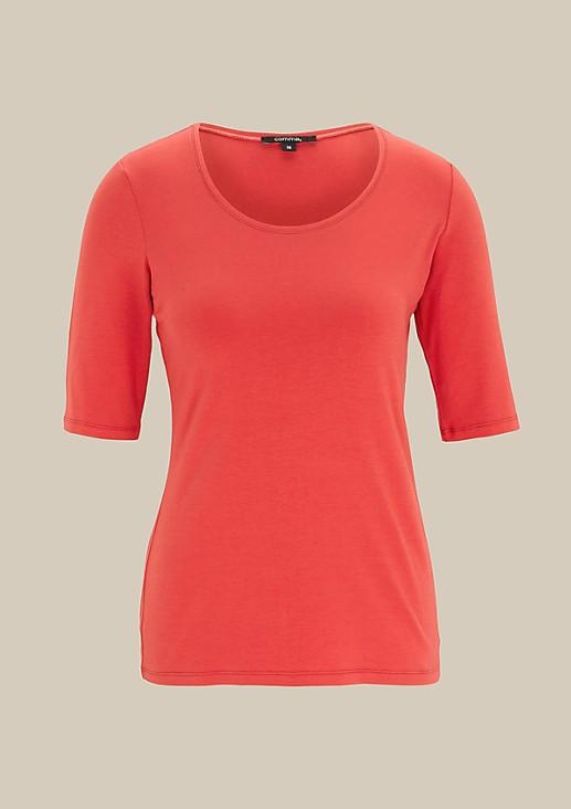Klassisches Kurzarm-Jerseyshirt mit feinen Details