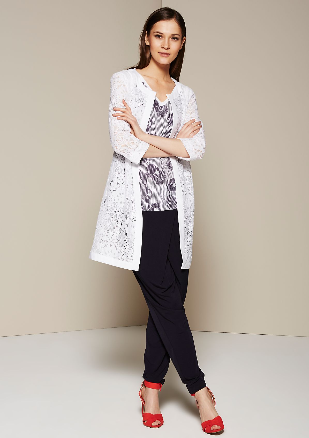 Extravagant long jacket in delicate lace from s.Oliver