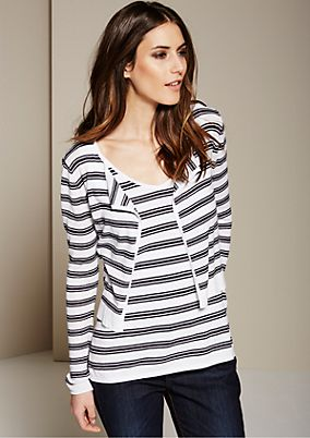 Beautiful top/jacket set made of fine knitted yarn in a striped look from s.Oliver