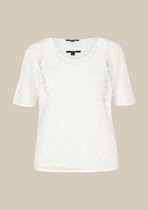Transparentes Kurzarmshirt aus feinster Spitze