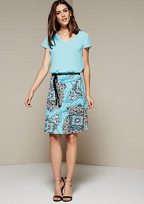 Casual panelled skirt with a fine all-over pattern from s.Oliver