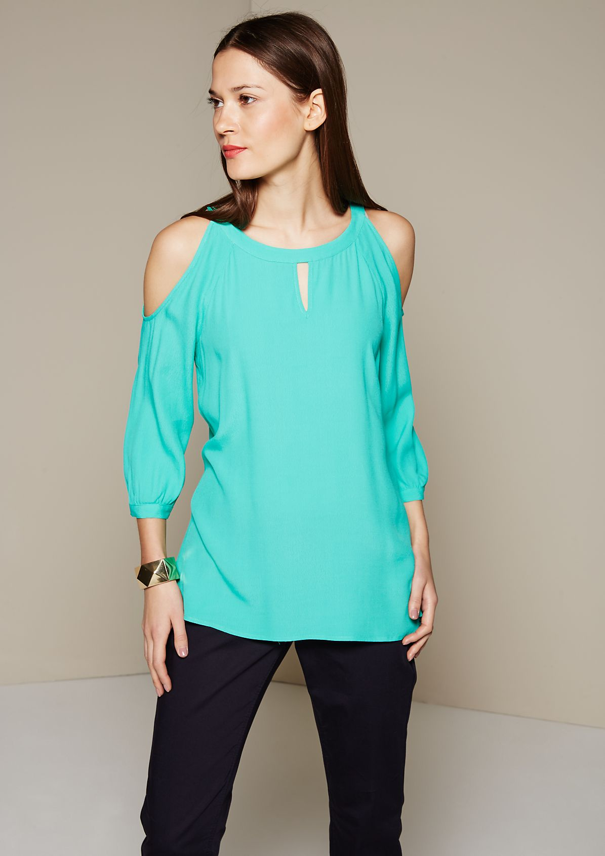 Summery blouse with beautiful details and 3/4-length sleeves from s.Oliver