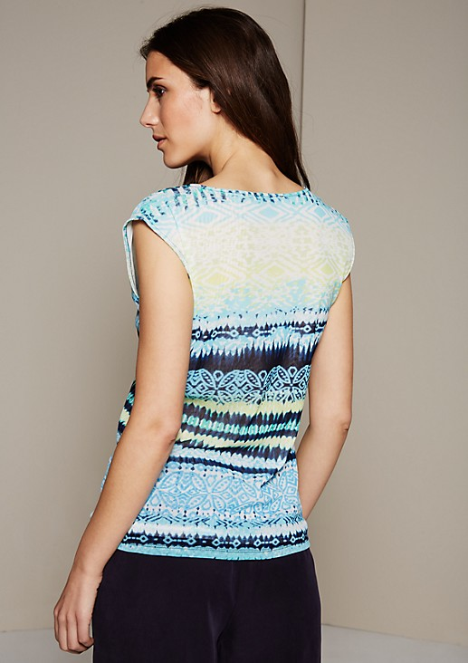 Summery mesh top with a colourful pattern from s.Oliver