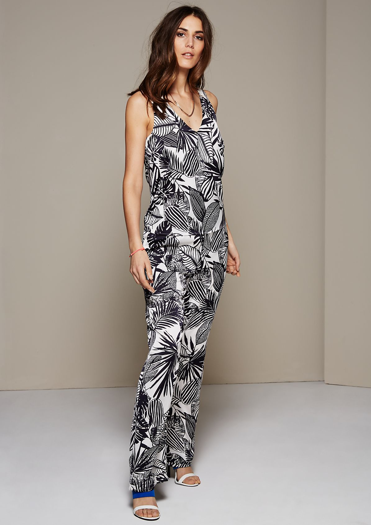 Elegant satin jumpsuit with a wonderful pattern from s.Oliver