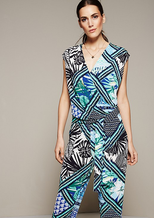Relaxed jumpsuit with a colourful all-over print from s.Oliver