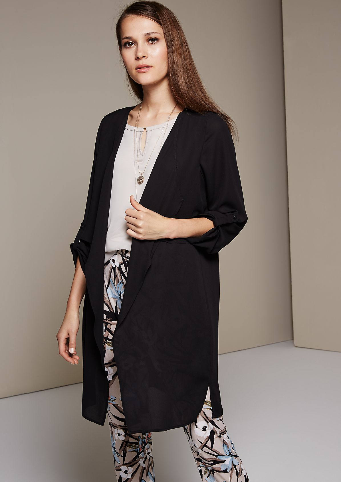 Lightweight long cardigan made of delicate crêpe from s.Oliver