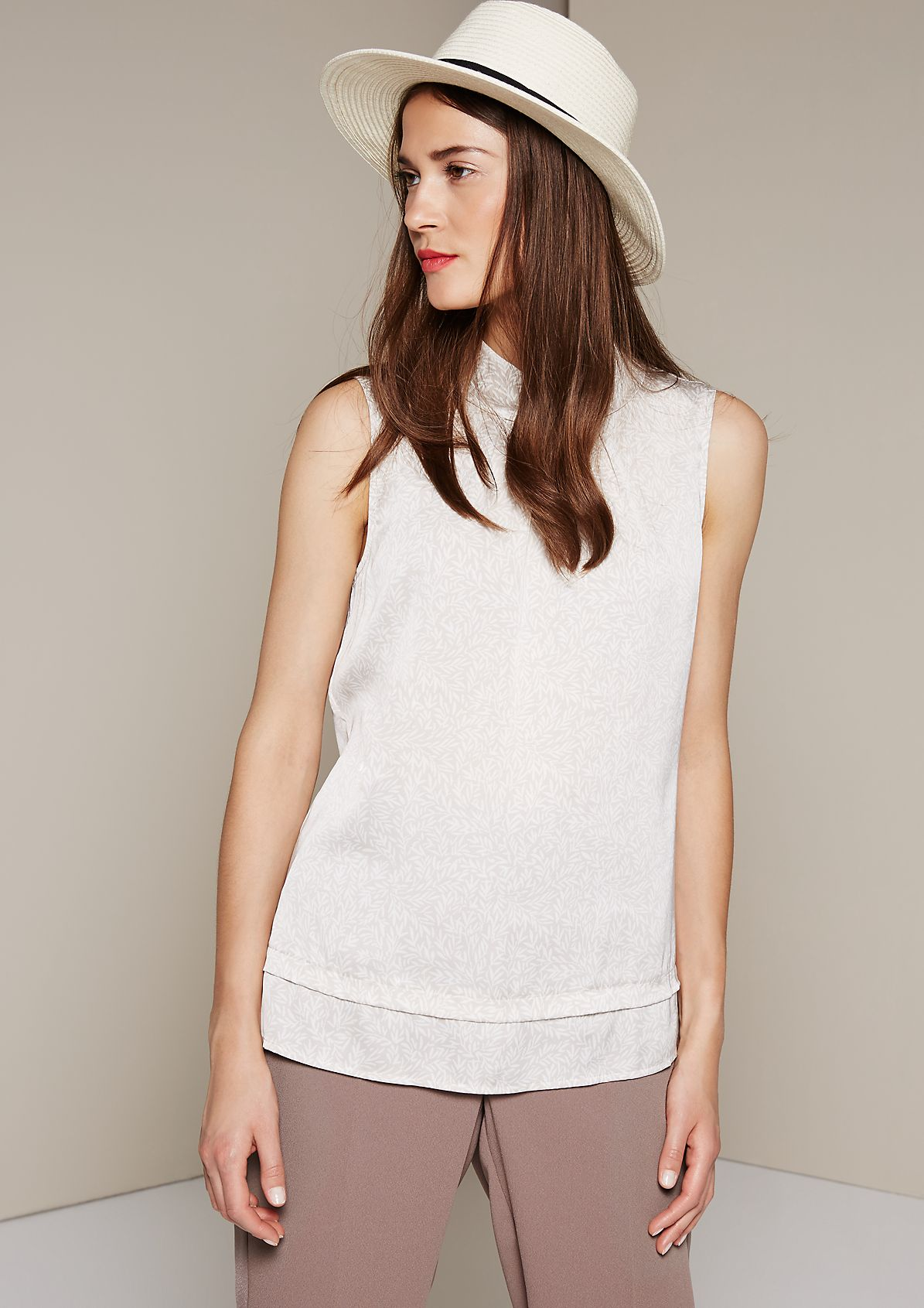 Elegant satin top with a pretty all-over print from s.Oliver