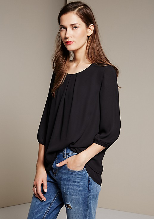 Elegant blouse in a trendy layered look with 3/4-length sleeves from s.Oliver