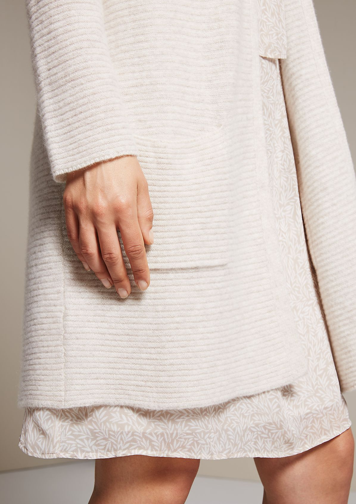 Soft knit coat with a pretty ribbed pattern from s.Oliver