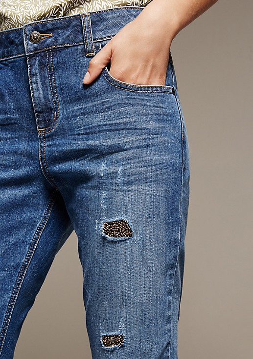 Extravagante 5-Pocket Jeans mit glitzerndem Paillettenbesatz